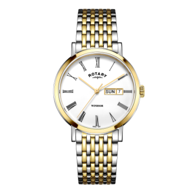 Rotary Herren Windsor oder zweifarbige Uhr aus Silber und Gold GB05302/01