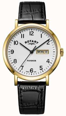 Rotary Herrenwindsor schwarzes Lederband in goldfarbenem Etui GS05303/18