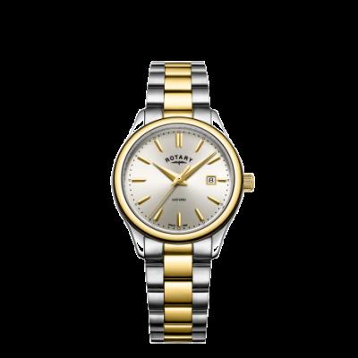 Rotary Damenarmbanduhr aus goldfarbenem Silber in zwei Farben LB05093/03