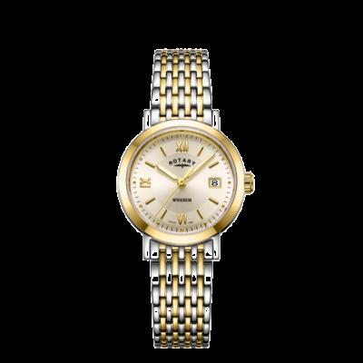 Rotary Damen Windsor zweifarbig Gold und Silber Armband Uhr LB05301/09