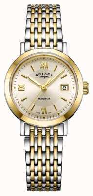 Rotary Damen Windsor zweifarbige goldene und silberne Armbanduhr LB05301/09