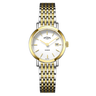 Rotary Damen Windsor zweifarbig Gold und Silber Armband Uhr LB05302/01