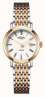 Rotary Damen Windsor Two Tone Rotgold und Silber Armbanduhr LB05302/01