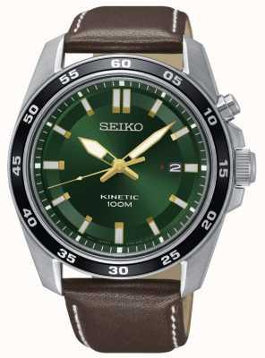 Seiko Herren kinetische Uhr braun Lederband grün Zifferblatt SKA791P1