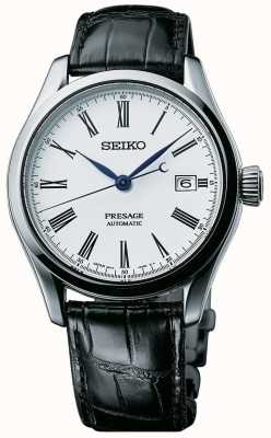 Seiko Presage Mens automatisches weißes Zifferblatt schwarzes Lederarmband SPB047J1