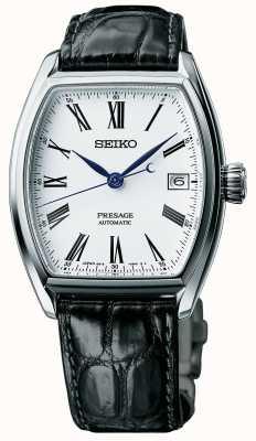 Seiko Mens presage automatische schwarze Armband Emaille Zifferblatt Uhr SPB049J1