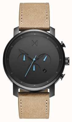 MVMT Chrono 45mm Rotguss Sandstein | braunes Armband | schwarzes Zifferblatt D-MC01GML