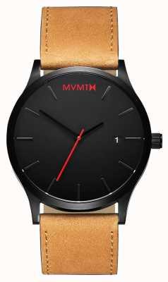 MVMT Klassische schwarze Bräune | braunes Lederband | schwarzes Zifferblatt D-L213.5L.351