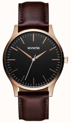 MVMT 40er Serie roségoldbraun | braunes Armband | schwarzes Zifferblatt D-MT01-BLBR