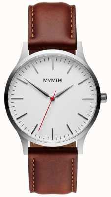MVMT 40 serie silber naturbraun | braunes Armband | silbernes Zifferblatt D-MT01-SNA