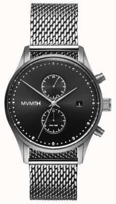 MVMT Voyager Sterling | Edelstahlgewebe | schwarzes Zifferblatt D-MV01-S2