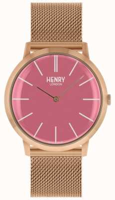 Henry London Ikonisches pinkfarbenes Zifferblatt mit roségoldfarbenem Netzarmband HL40-M-0312