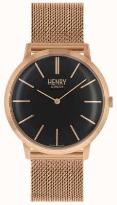 Henry London Ikonisches schwarzes Zifferblatt Roségoldfarbenes Netzarmband HL40-M-0254