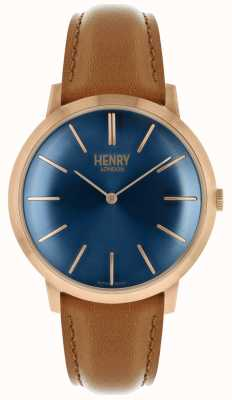 Henry London Iconic Navy Zifferblatt Tan Lederband Rose Tonfall HL40-S-0244