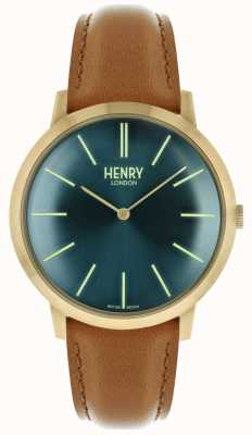 Henry London Iconic Navy Zifferblatt braun Lederband goldfarbenen Gehäuse HL40-S-0274