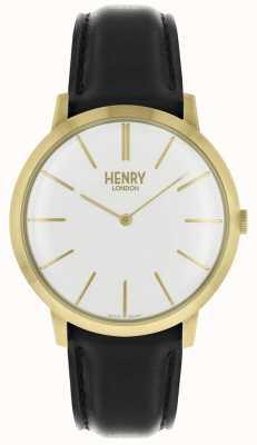 Henry London Ikonisches weißes Zifferblatt mit schwarzem Lederband in goldfarbenem Gehäuse HL40-S-0238