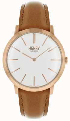 Henry London Kultiges weißes Zifferblatt mit hellbraunem Lederband, Rosé-Ton-Gehäuse HL40-S-0240
