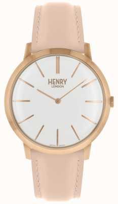 Henry London Ikonischer weißer rosafarbener Kasten des rosafarbenen Lederbandes mit Zifferblatt HL40-S-0288