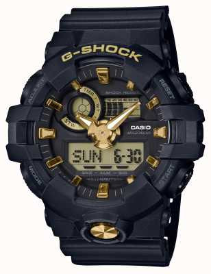 Casio G-Shock Analog Digital Navy Gummi Gold Uhr GA-710B-1A9ER