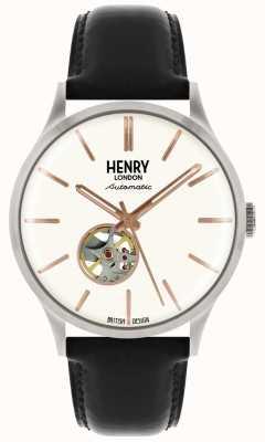 Henry London Heritage Herren automatische schwarze Lederband weiß Zifferblatt Uhr HL42-AS-0279
