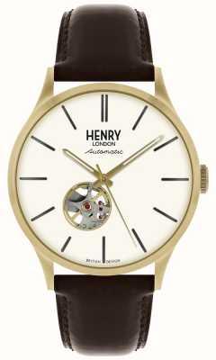 Henry London Heritage Herren Automatik schwarzes Lederarmband weißes Zifferblatt HL42-AS-0280