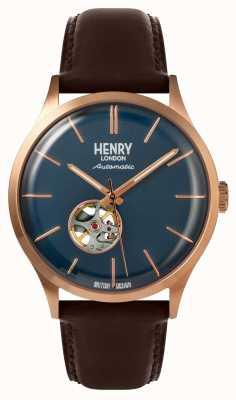 Henry London Heritage Herren automatische braune Lederband marine Zifferblatt Uhr HL42-AS-0278