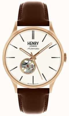 Henry London Heritage Herren automatische braun Lederband weiß Zifferblatt Uhr HL42-AS-0276