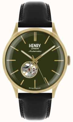 Henry London Heritage Herren automatische schwarze Lederband grün Zifferblatt Uhr HL42-AS-0282