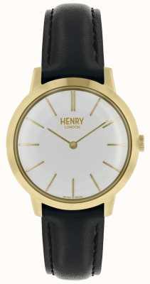 Henry London Ikonische Damenuhr weißes Zifferblatt schwarzes Lederarmband HL34-S-0214