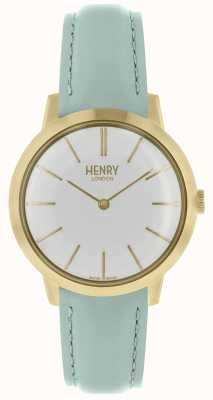 Henry London Ikonische Damenuhr weißes Zifferblatt blaues Lederarmband HL34-S-0224
