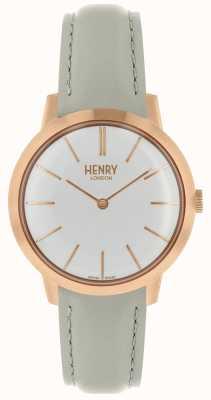 Henry London Ikonische Damenuhr weißes Zifferblatt graues Lederarmband HL34-S-0220