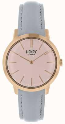 Henry London Iconic Damenuhr rosa Zifferblatt grau Lederarmband HL34-S-0228
