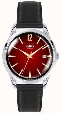 Henry London Chancery unisex schwarzes Lederarmband rote Zifferblatt Uhr HL39-S-0095