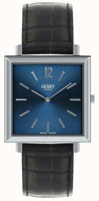 Henry London Heritage Herren Quadrat Uhr blauen Zifferblatt schwarz Lederband HL34-QS-0267