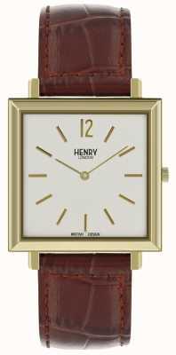 Henry London Heritage Herren Quadrat Uhr weißen Zifferblatt braun Lederband HL34-QS-0268