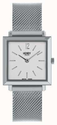 Henry London Die zierliche quadratische Uhr der Erbfrauen | silbernes Mesh-Armband | HL26-QM-0265