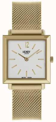 Henry London Heritage Womens petite Quadrat Uhr Gold Mesh HL26-QM-0266
