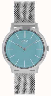 Henry London Iconic Womens Uhr Silber Mesh Armband blaues Zifferblatt HL34-M-0273