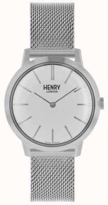 Henry London Iconic Damenuhr Silber Mesh Armband weißes Zifferblatt HL34-M-0231