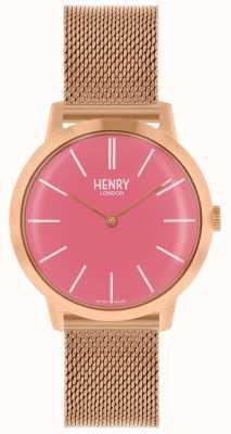 Henry London Iconic Damenuhr Roségold Mesh Armband rosa Zifferblatt HL34-M-0272