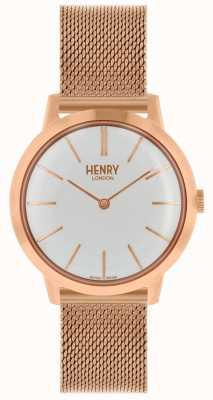 Henry London Ikonische Damenuhr Roségold Mesh Armband weißes Zifferblatt HL34-M-0230