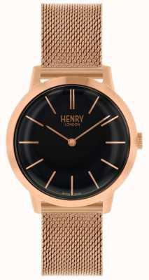 Henry London Kultige Armbanduhr aus Roségold mit schwarzem Zifferblatt HL34-M-0234