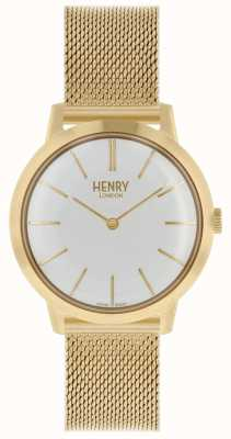 Henry London Iconic Damenuhr Gold Mesh Armband weißes Zifferblatt HL34-M-0232