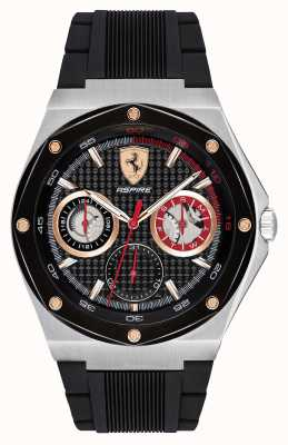 Scuderia Ferrari Mens aspire schwarz Kautschukband Gold Akzente Datumsanzeige 0830556