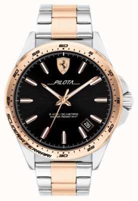 Scuderia Ferrari Herren Pilota zweifarbig vergoldetes Armband schwarzes Zifferblatt 0830528