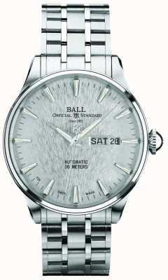 Ball Watch Company Trainmaster Ewigkeit Silber Zifferblatt automatische Tagesdatum Anzeige NM2080D-S1J-SL