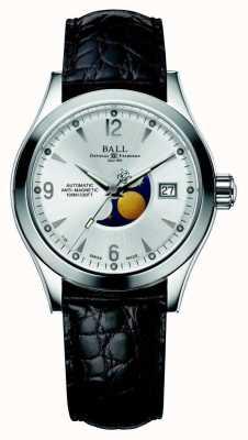 Ball Watch Company Ohio Mondphase automatische silberne Datumsanzeige Lederband NM2082C-LJ-SL