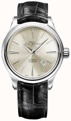 Ball Watch Company Trainmaster Legende Creme Sunray Zifferblatt braunes Lederarmband NM3080D-LJ-SL