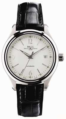 Ball Watch Company Streamliner automatische weiße Zifferblatt Datumsanzeige aus schwarzem Leder NM1060D-LFJ-WH