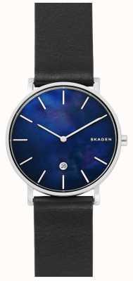 Skagen Mens Hagen schwarz Lederband blaue Zifferblatt Uhr SKW6471
